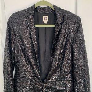 Anne Klein Black Sequin Party Blazer